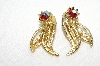 "MBA #E49-088   ""Vintage Gold Tone Red AB Crystal Rhinestone Clip On Earrings"""