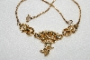 "MBA #E49-112   ""Vintage Gold Plated Red & Clear Crystal Rhinestone Necklace"""