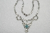 "MBA #E49-149   ""Vintage Silvertone Clear Crystal & Blue Rhinestone Necklace"""