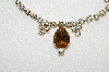 "MBA #E49-148   ""Vintage Goldtone Citrine Colored Center Stone & Clear Rhinestone Choker"""