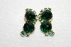 "MBA #E49-103   ""Vintage Gold Tone Green Glass & Green AB Crystal Rhinestone Clip On Earrings"""