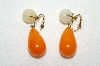 "MBA #E49-177   ""Vogue Gold Tone Orange & Cream Colored Glass Stone Clip On Earrings"""