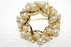 "**MBA #E49-132   ""Vintage Gold Tone Fancy Faux Pearl & Clear Rhinestone Pin"""