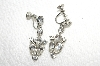 "MBA #E49-184   ""Vintage Silvertone Clear Crystal Rhinestone Screw Back Earrings"""