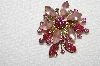 "**MBA #E50-148   ""Vintage Gold Tone Pink Glass & Pink Rhinestone Brooch"""