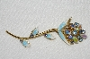 "**MBA #E50-066  ""Vintage Made In Austria Long Stem Enameled Crystal Rhinestone Pin"""