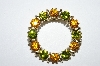 "**MBA #E50-186   ""Vintage Gold Tone Green & Citrine Colored Crystal Rhinestone Pin"""