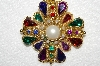 "**MBA #E50-111    ""Vintage Large Goldtone Multi Colored Acrylic Stone & Faux Pearl Brooch"""
