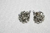 "MBA #E50-070   ""Vintage Silvertone Fancy Clear Crystal Rhinestone Clip On Earrings"""
