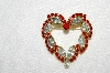 "**MBA #E50-136   ""Vintage Gold Tone Red & Clear Crystal  Rhinestone Heart Pin"""