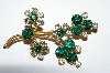 "**MBA #E50-180   ""Vintage Gold Tone Green & Clear Rhinestone Flower Pin"""