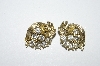 "MBA #E50-381   ""Lisner Gold Tone Clear Rhinestone Clip On earrings"""