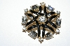 "**MBA #E50-202   ""Vintage Gold Plated Black Enamel & Clear Crystal Rhinestone Fancy Pin"""