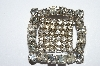 "**MBA #E50-208  ""Vintage Silvertone Very Fancy Square Clear Crystal Rhinestone Pin"""