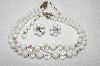 "MBA #E50-003   ""Laguna Milk Glass & AB Crystal Bead Necklace & Earring Set"""