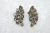 MBA #E50-377   Vintage Silvertone Fancy Clear Crystal Rhinestone Earrings""
