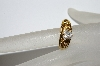 "+MBA #E50-415  ""Older Gold Plated Fancy Floral Shank CZ Ring"""