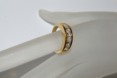 "+MBA #E50-421     ""Older Gold Plated Square Cut CZ Ring"""