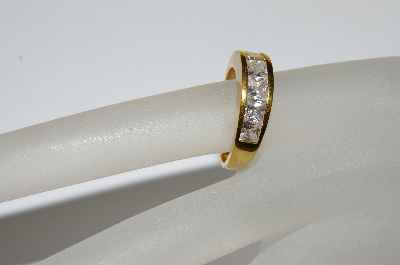"MBA #E50-421     ""Older Gold Plated Square Cut CZ Ring"""