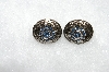 "MBA #E50-368   ""Vintage Antiqued Silvertone Blue Crystal Rhinestone Ovel Clip On Earrings"""