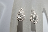 MBA #E50-047  Vintage Silverplated Pear Shaped Clear Crystal Rhinestone Earrings""