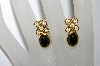 "MBA #e50-400   ""Vintage Gold Plated Black Stone & Clear Crystal Earrings"""