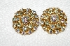 "MBA #E50-030   ""Vintage Gold Tone Clear & AB Crystal Rhinestone Clip On Earrings"""