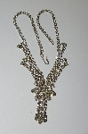 "MBA #E50-447   ""Vintage Silvertone Fancy Clear Crystal Rhinestone Necklace"""