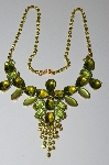 "MBA #E50-442   ""Vintage Green Glass & Acrylic Stone Green Crystal Rhinestone Necklace"""