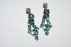 "MBA #E50-390   ""Vintage Silvertone Blue Crystal Rhinestone Earrings"""