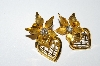 "MBA #E50-303   ""BN Gold Tone Clear Rhinestone Heart & Flower Earrings"""