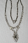 "MBA #E50-122   ""Vintage Silvertone Clear Crystal Rhinestone Necklace"""