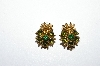 "MBA # E50-345   ""Vintage Gold Plated Small Green Crystal Rhinestone Clip On Earrings"""