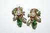 "MBA #E50-387   ""Vintage Gold Tone Green Rhinestone & Faux Pearl Clip On Earrings"""