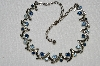 "MBA #E50-024   ""Vintage Silvertone Two Shades Of Blue Crystal Rhinestone Necklace"""