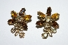 "MBA #E50-222   ""Vintage Goldtone Multi Colored Rhinestone Clip On Earrings"""