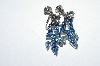 "MBA #E50-262   ""Vintage Silvertone Blue Crystal Rhinestone Screw Back Earrings"""