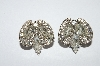 "MBA #E50-297   ""Vintage Silvertone Fancy Clear Crystal Rhinestone Clip On Earrings"""