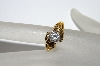 "+MBA #E50-411   ""Older Gold Plated Fancy Clear CZ Ring"""