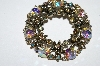 "**MBA #E50-277   ""Vintage Antiqued Gold Tone AB Crystal Rhinestone Floral Pin"""