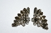 "MBA #E50-293   ""Vintage Silvertone Grey & Clear Crystal Rhinestone Fancy Floral Earrings"""