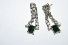 "MBA #E50-318    ""Vintage Silvertone Green & Clear Crystal Rhinestone Pierced Earrings"""