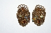 "MBA #E50-310  ""Made In Austria Glass Leaf & Crystal Rhinestone Earrings"""