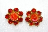 "MBA #E50-328   ""Vintage Oragne Acrylic Stone & Orange Crystal Rhinestone Clip On Earrings"""