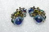 "MBA #E50-357   ""Avon Antiqued Silvertone Fancy Rhinestone Clip On Earrings"""