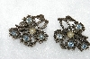 "MBA #E50-331   ""Vintage Antique Look Clear Crystal & Faux Pearl Floral Clip On Earrings"""