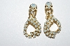 "MBA #E50-254   ""Vintage Gold Tone Opal Colored Rhinestone Drop Earrings"""