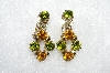 "MBA #E50-360   ""Vintage Gold Tone Green & Orange Crystal Rhinestone Drop Earrings"""