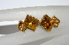 "MBA #E50-286   ""Vintage Gold Tone Citrine Colored Rhinestone Earrings"""