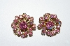 "MBA #E50-240   ""Vintage Gold Tone Pink AB Crystal Rhinestone Earrings"""
